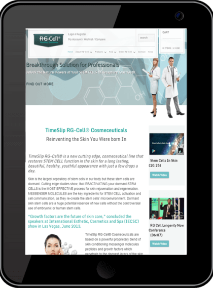 RG-Cell UK Website Desktop Device Timothy Graham Freelancer