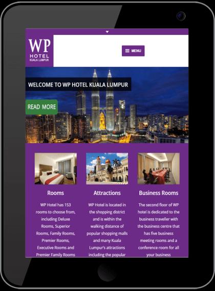 WP Hotel Responsive Website Tablet Devices Timothy Graham Freelancer
